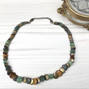 Bronze and green flat bead necklace